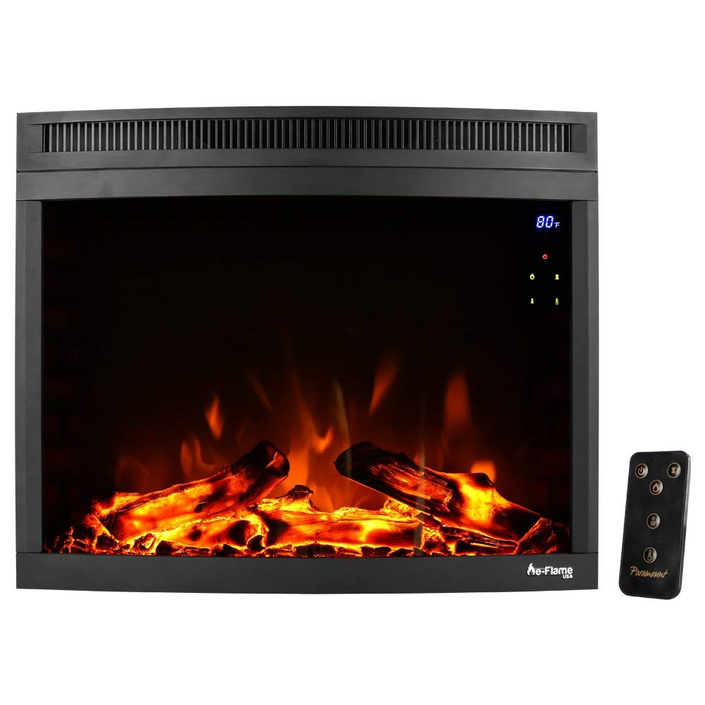 """28"""" Curved LED Electric Fireplace Insert w/ Touch Screen and Remote Control by e-Flame USA"""