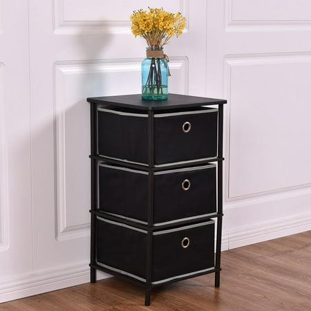 Costway Night Stand End/Side Table Storage Bin Home Office Furni W/ 3 Storage Baskets ()