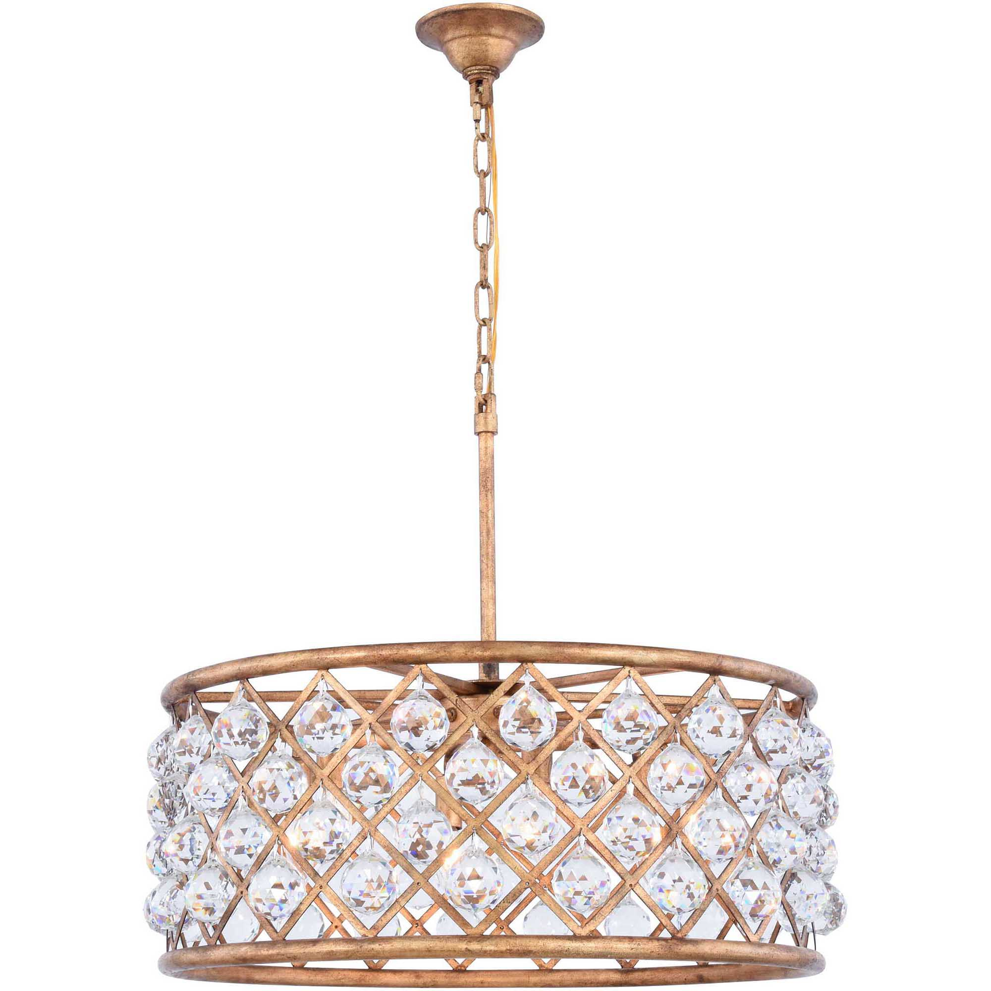 "Madison Collection Pendant Lamp D:25"" H:10.5"" Lt:6 Golden Iron Finish Royal Cut Crystal (Clear)"