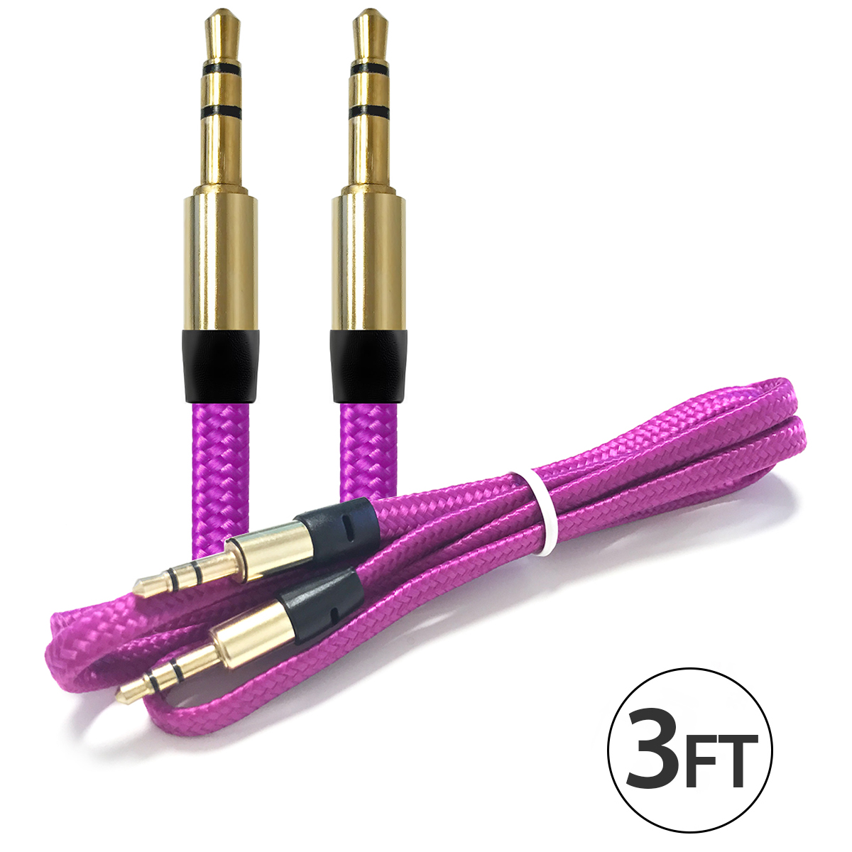 4x 3.5Mm Male To Male Audio Cable by FREEDOMTECH 3FT Universal Auxiliary Cord 3.5mm Male to Male Flat Nylon Braided Audio Aux Cable w/Aluminum Connector for iPods iPhone iPads Galaxy Home Car Stereos