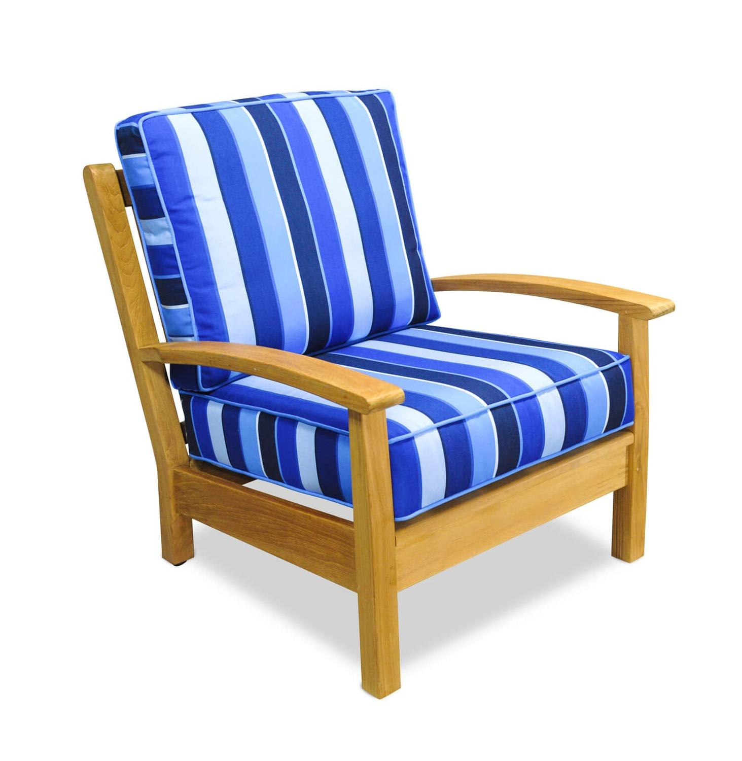 "34"" Natural Teak Deep Seating Outdoor Patio Lounge Chair with Cobalt Striped Cushions"