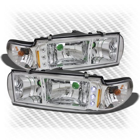 Caprice Headlights Headlamp (For 1991-1996 Chevy Caprice Impala LED 2in1 Headlights+Corners Head Lights Pair Left+Right 1992 1993 1994 1995)