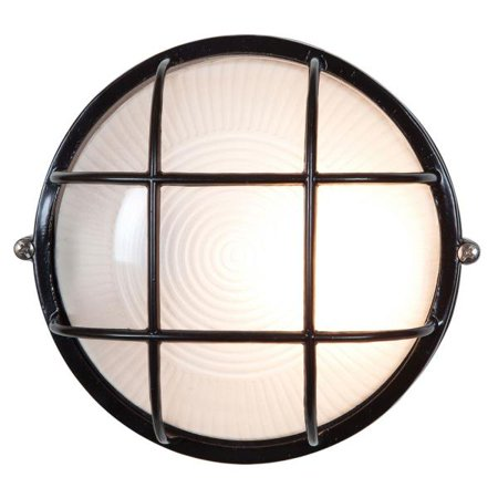 """Access Lighting Nauticus - 9.5"""" 9W 1 LED Outdoor Bulkhead, Black Finish with Frosted Glass"""
