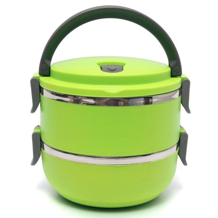 Large Insulated Stainless Steel Microwavable 2/3/4-Tier Lunch Box - Hot Food Meals and Beverages Thermal Container Storage – Stackable Containers with Handle Portable ()