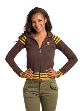 sweet vibes juniors women brown zip up track jacket with open back