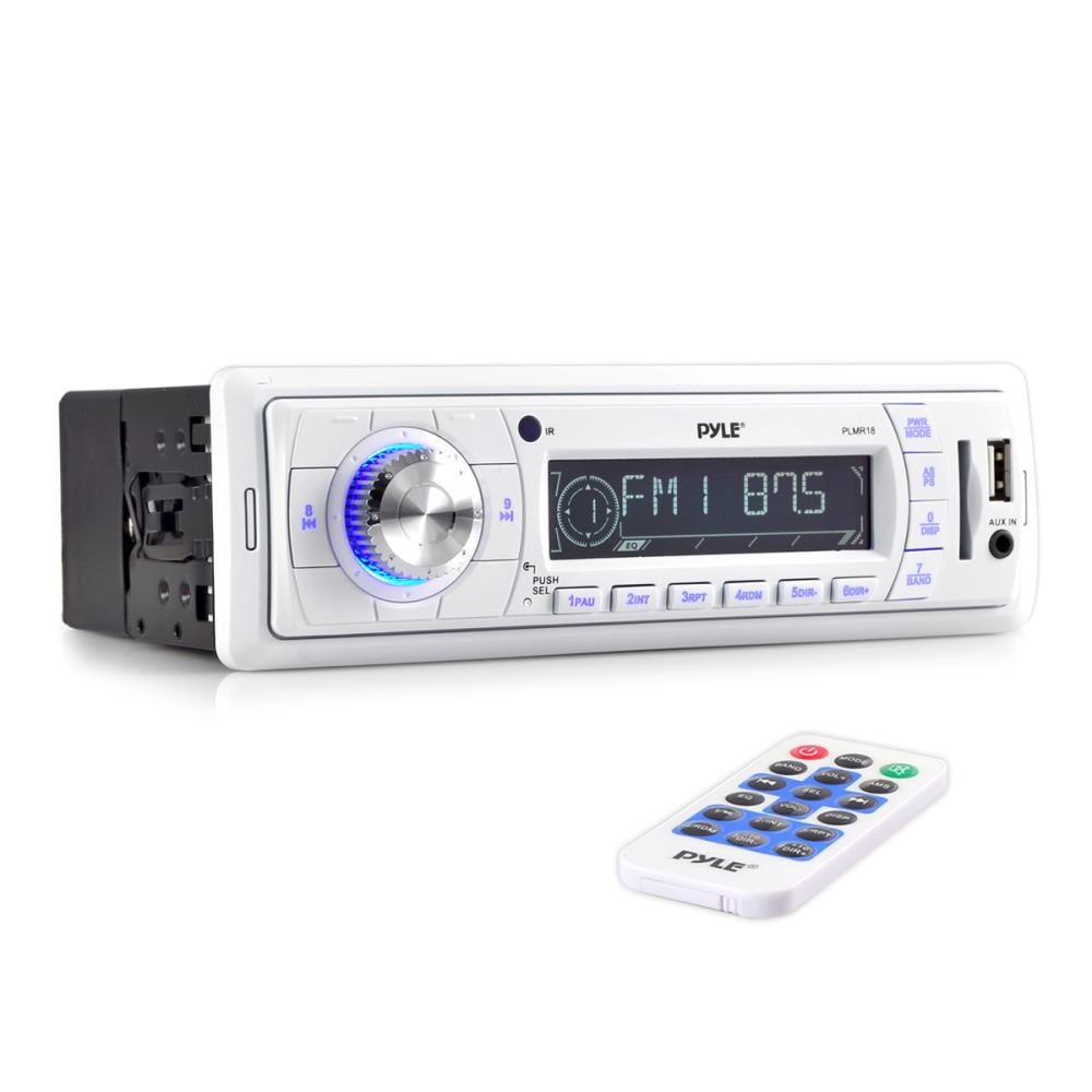 PYLE PLMR18 - Stereo Marine Headunit Receiver - 12v Single DIN Style Digital Boat In dash Radio System with MP3, USB, SD, AUX, RCA, AM FM Radio - Remote Control, Power Wiring Harness - (White)
