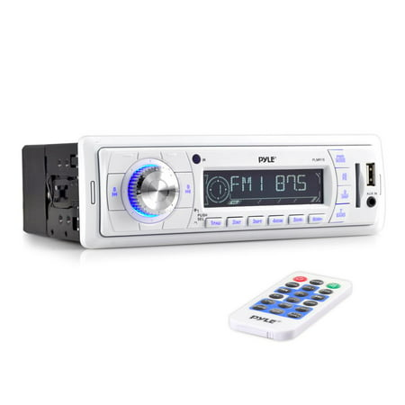PYLE PLMR18 - Stereo Marine Headunit Receiver - 12v Single DIN Style Digital Boat In dash Radio System with MP3, USB, SD, AUX, RCA, AM FM Radio - Remote Control, Power Wiring Harness - (Best In Dash Receiver)