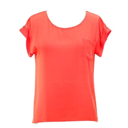 Peach Couture Chiffon Scoop Neck Back Button Down Top w/ Patch Pocket (Medium, Coral) Button Back Pocket