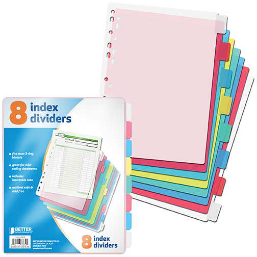 Better Office Products 8 Tab Poly Index Dividers (12-8 Ct Packs)