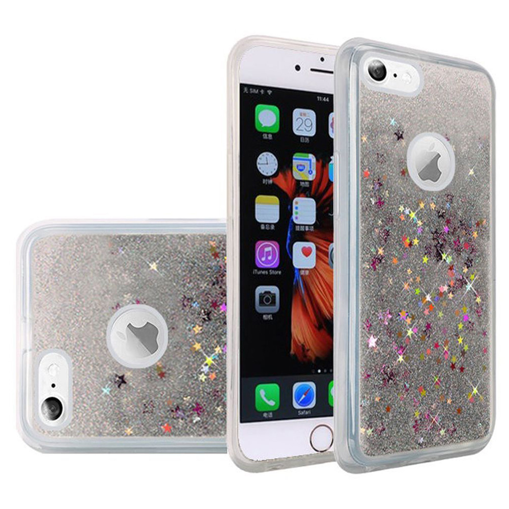 iPhone 6/6s Plus Case Tempered Glass Combo Kit, Premium Luxury Glitter Sparkle Bling Hybrid Quicksand Designer Case with Superior Protective Shockproof Screen Guard for iPhone 6/6s Plus, Silver