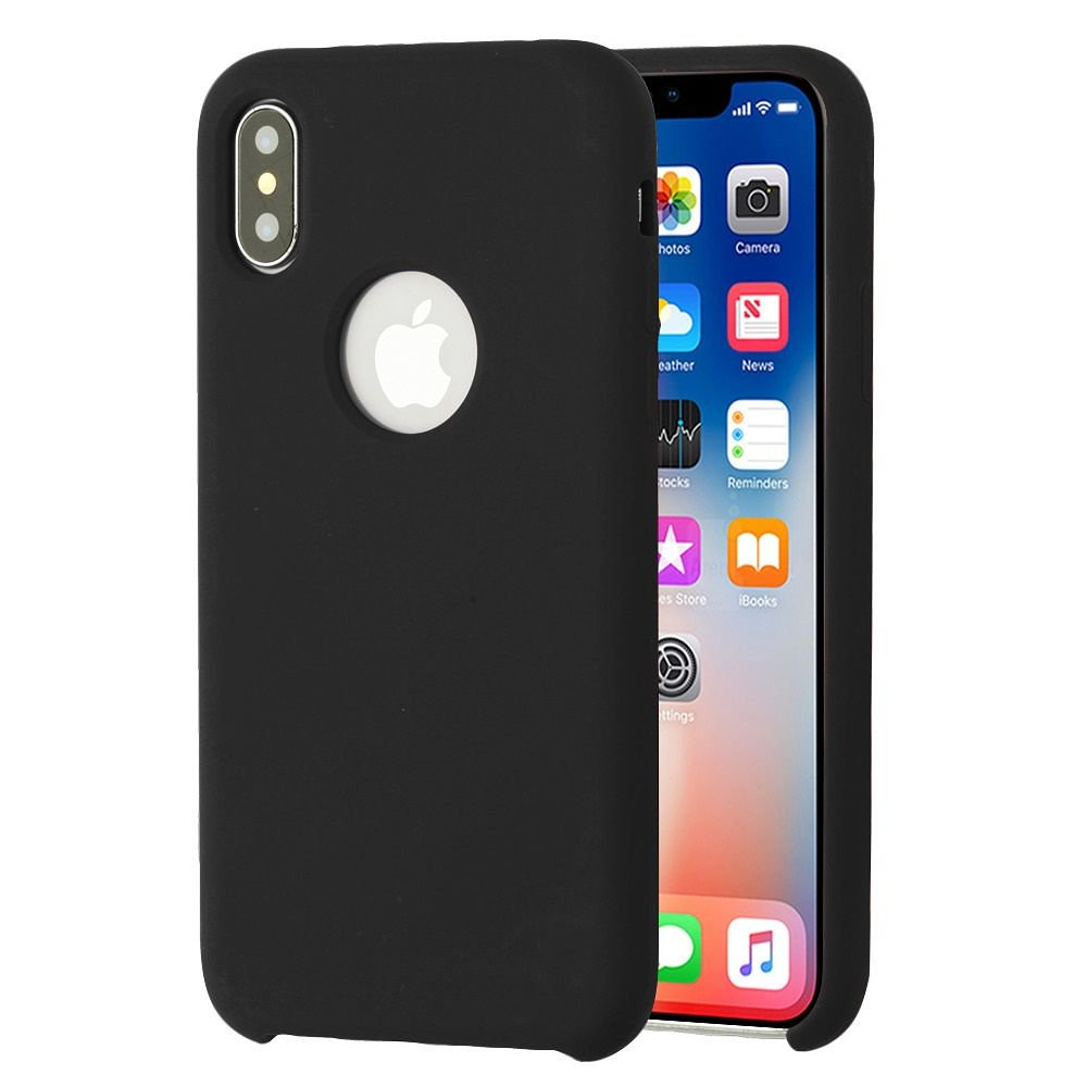 promo code ddb23 d97cd Apple iPhone X Case, by Insten Executive Protector Rubber Silicone/Plastic  Case Cover For Apple iPhone X, Black (Combo with Glass Screen Protector)