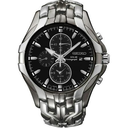 Seiko Mens Solar Alarm Chronograph Stainless Watch - Silver Bracelet - Black Dial - SSC139