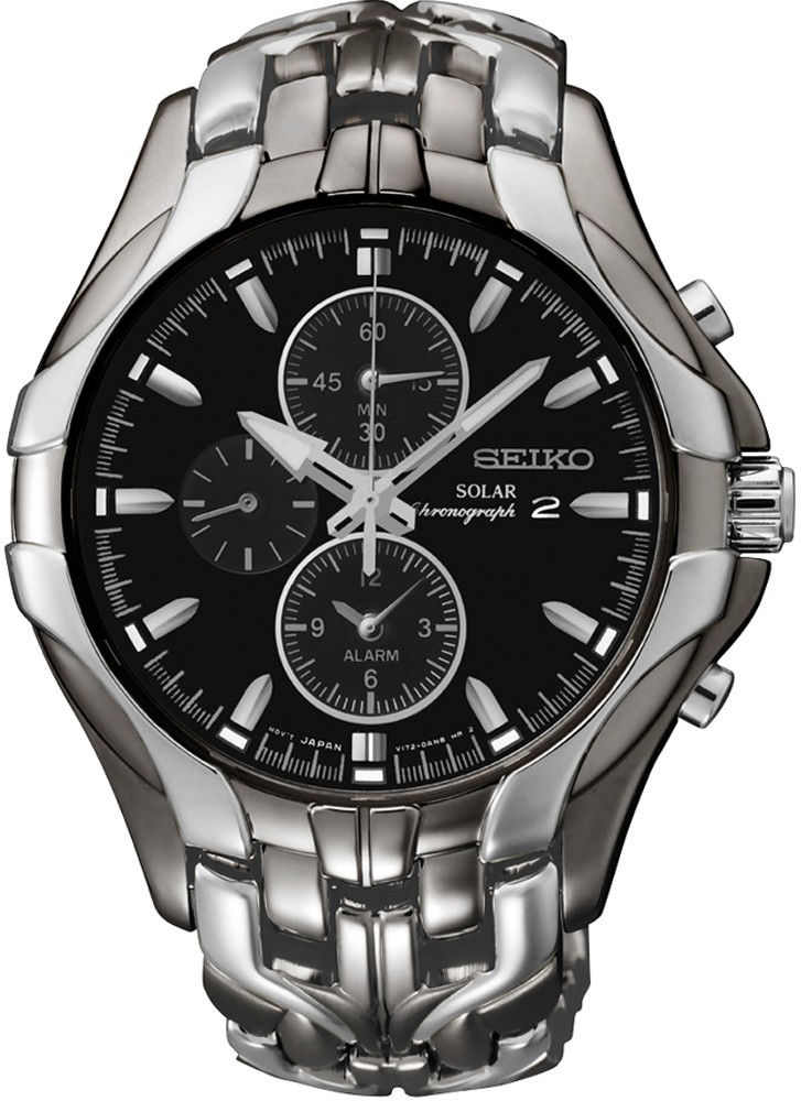 Mens Solar Alarm Chronograph Stainless Watch - Silver Bracelet - Black Dial - SSC139