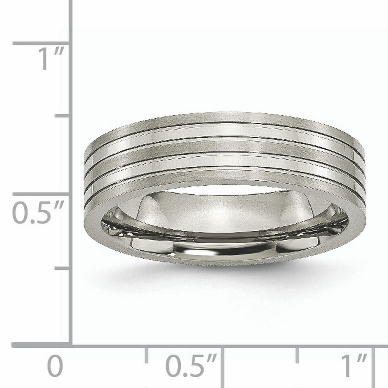 Titanium Grooved 6mm Brushed Wedding Ring Band Size 12.00 Fashion Jewelry Gifts For Women For Her - image 2 of 6