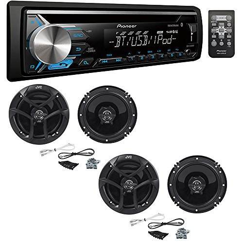 "Pioneer DEH-X3900BT Single DIN Bluetooth In-Dash CD/AM/FM Car Stereo Receiver with (2 PAIRS) JVC CS-J620 300W 6-1/2"" CS Series 2-Way Coaxial Car Speakers"