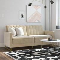 Novogratz Skylar Sofa Bed in Velvet, Ivory