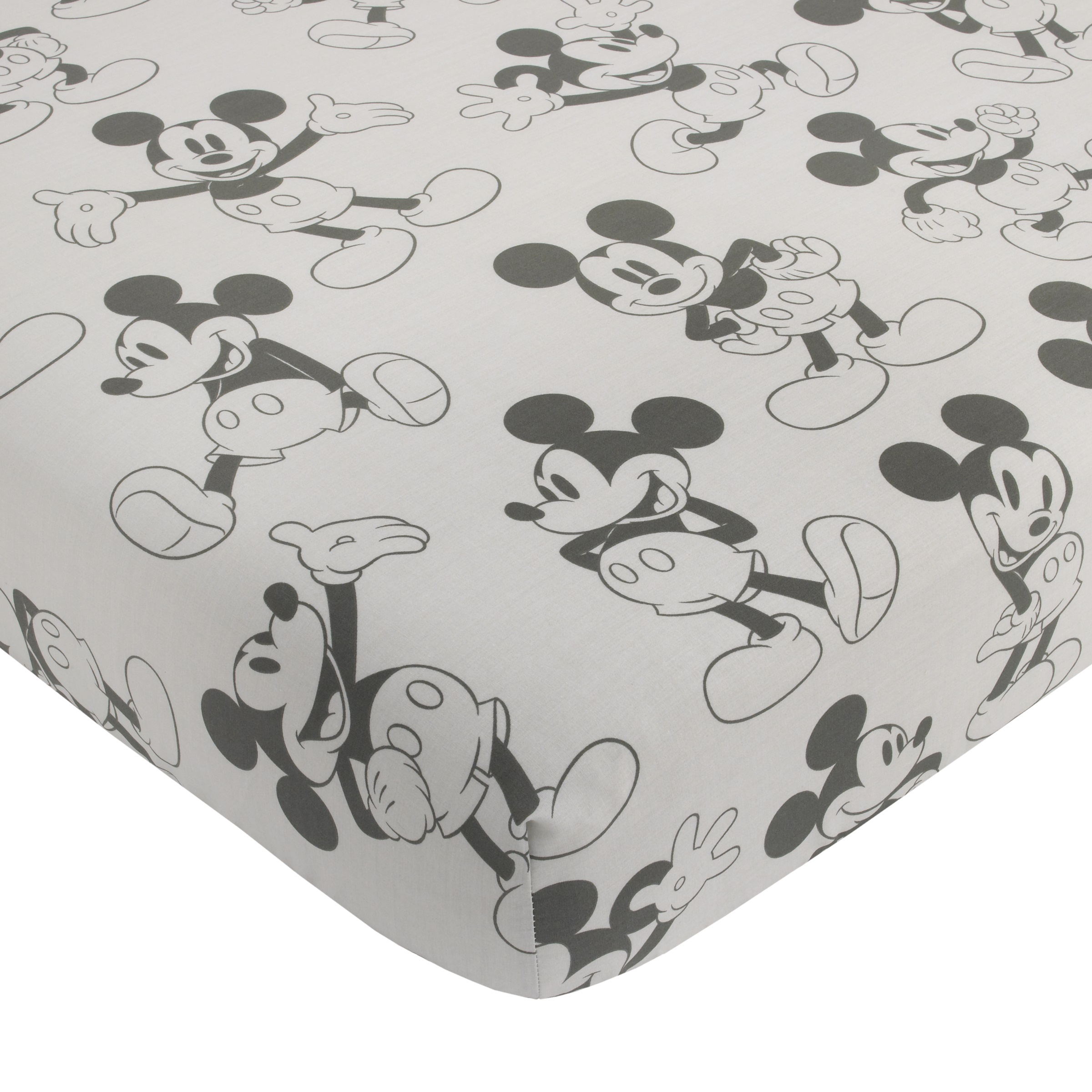 Disney Mickey Mouse Fitted Mini Crib Sheet, Grey & Black
