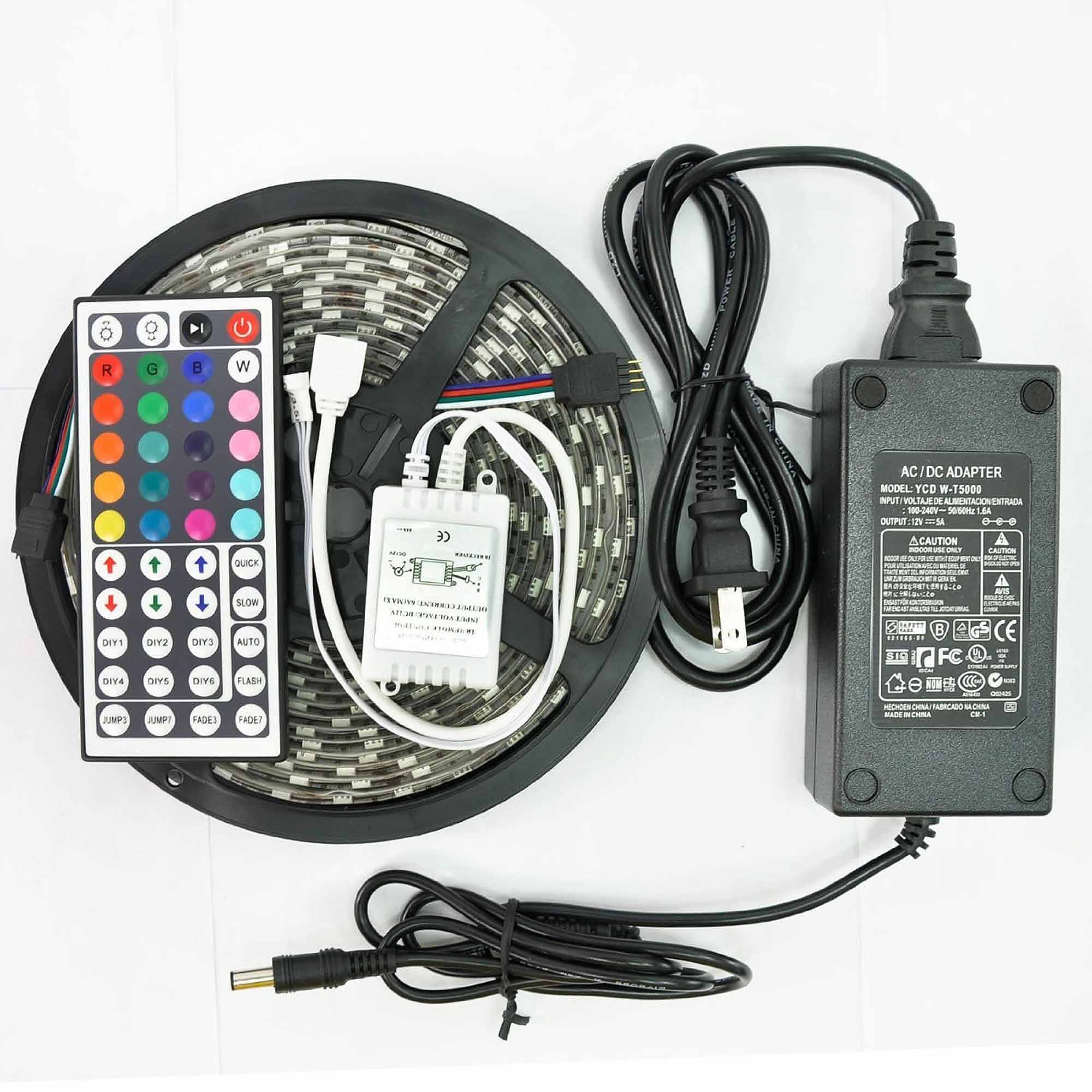 Image of ADX 5050 RGB 16.4' SMD Water-Resistant Flexible LED Strip Kit with 44 Key Remote