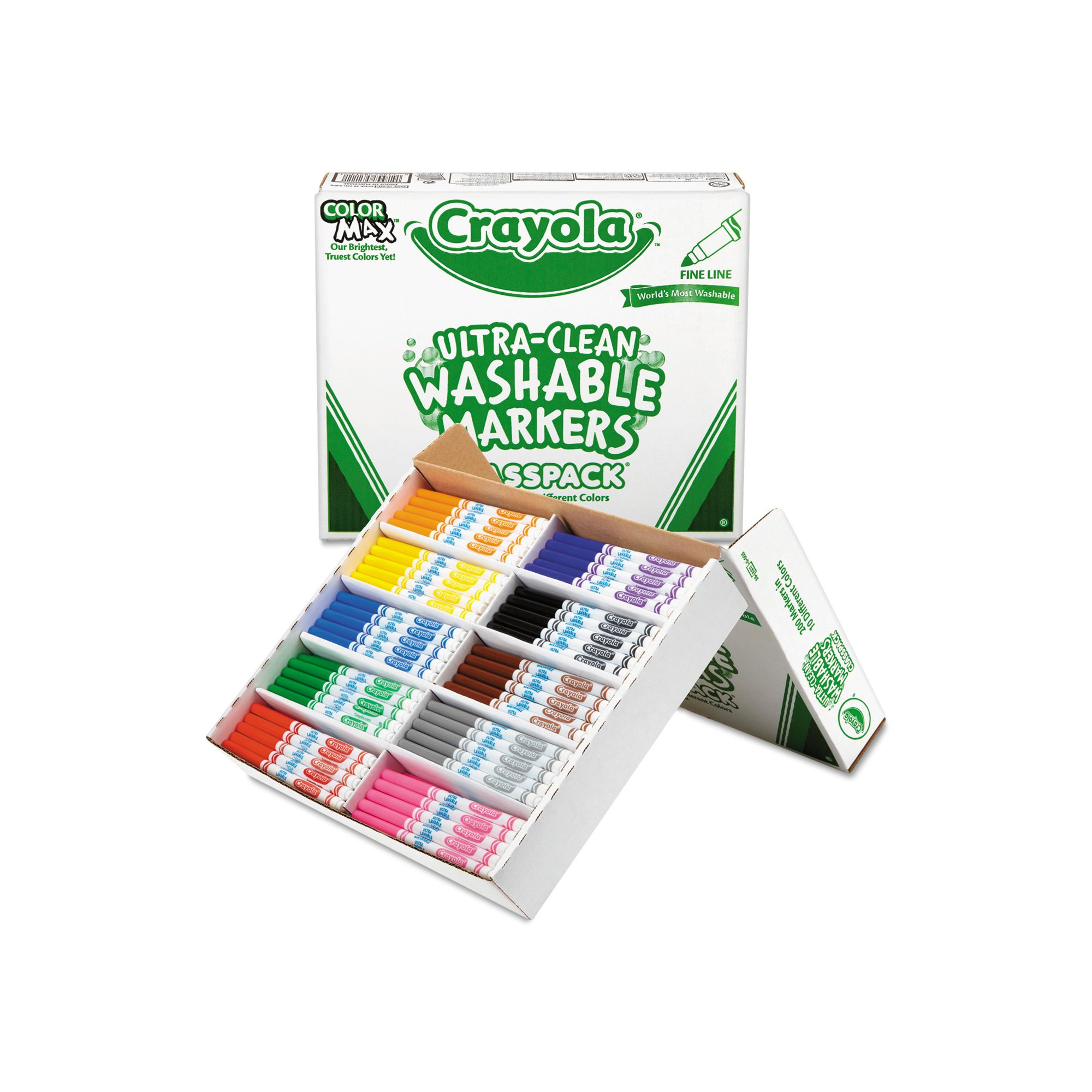 Crayola Washable Classpack Markers, Broad Point, Assorted, 200 Count