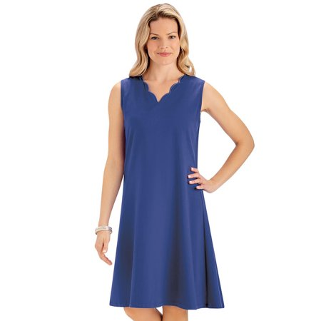Classic Solid Color Scalloped Neckline A Line Knit Dress - Cute Summer Outfit for Any Occasion ()