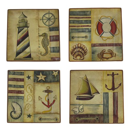 Set Of 4 Nautical Motif Decorative Square Plates