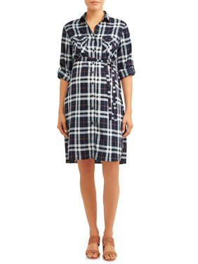 Oh! Mamma Women's Maternity Plaid Shirt Dress