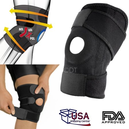 Adjustable Knee Patella Support Brace Sleeve Wrap Cap Stabilizer Sport Black NEW