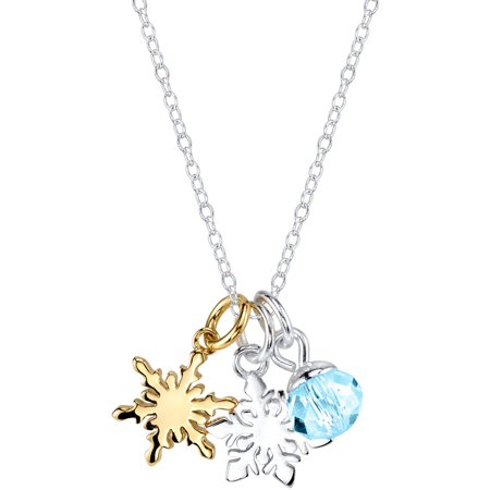 Crystal Bead Necklace (Disney 6mm Crystal Silver-Tone Two-Tone Frozen Snowflake with Bead Necklace,)