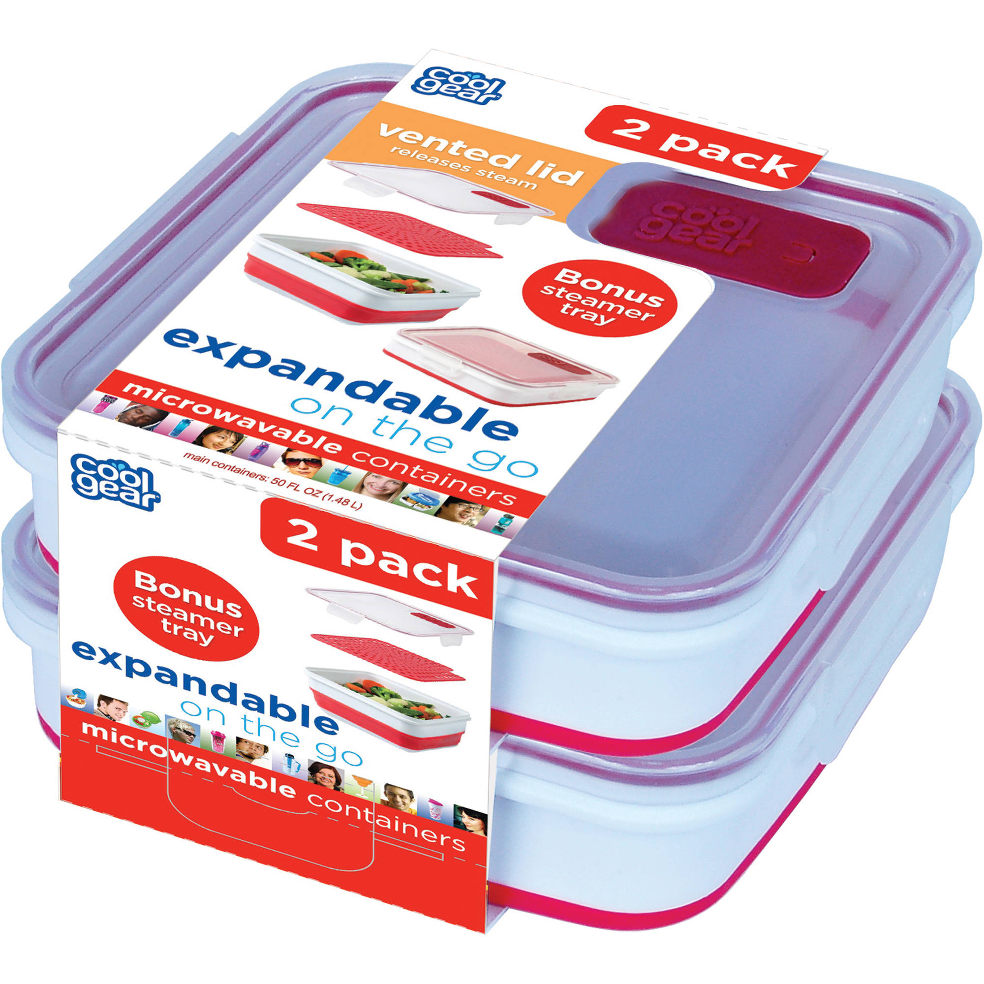 Cool Gear Expandable On The Go with Bonus Steamer Tray, 2-Pack