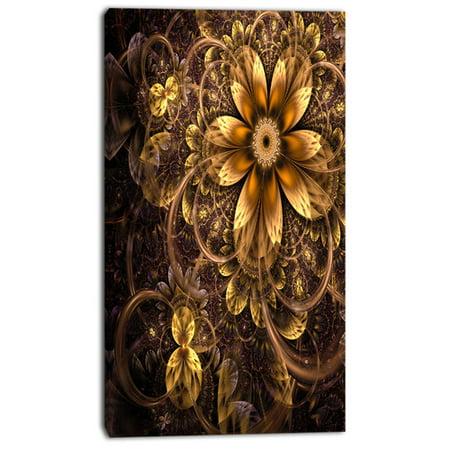 Design Art 'Fractal Dark Yellow Flower' Graphic Art on Wrapped -