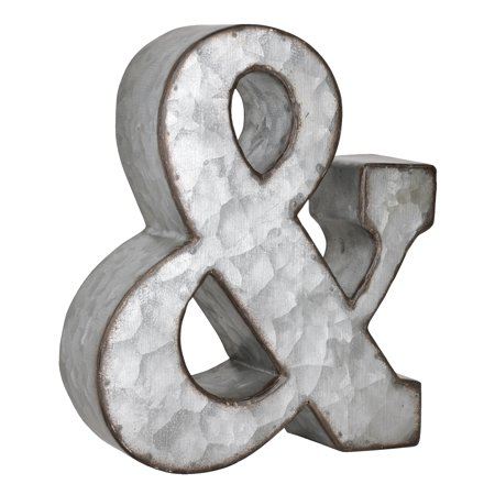 Better Homes & Gardens Tabletop Ampersand Metal Sign, Rustic Galvanized (Galvanised Metal)