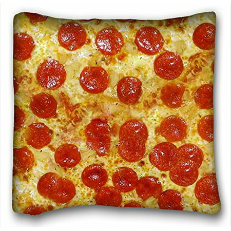 WinHome Pillowcase Design Pepperoni Cheese Pizza Pillow Protector, Best Pillow Cover Size 20x20 Inches Two Side