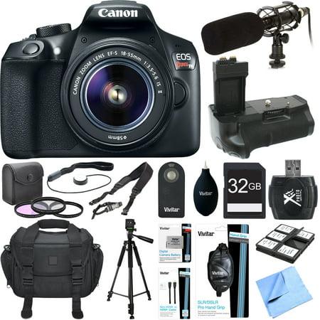 Canon EOS Rebel T6 Digital SLR Camera EF-S 18-55mm IS Lens Grip Mic 32GB Bundle