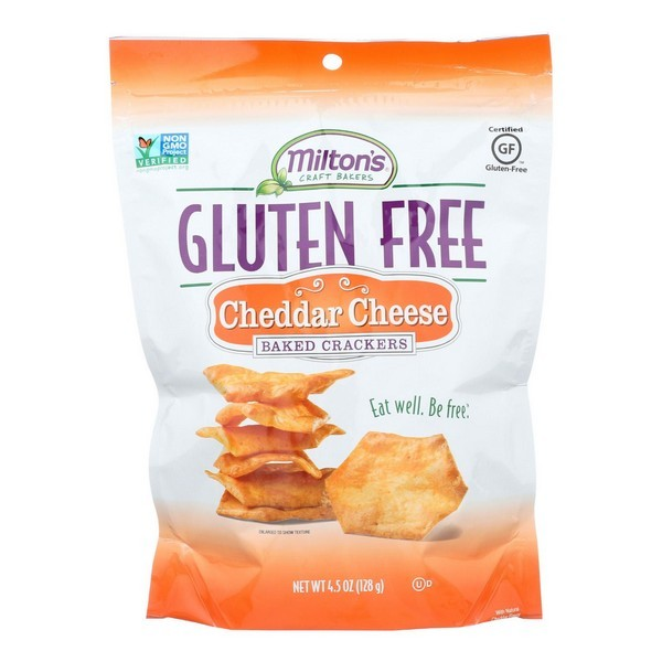 Miltons Gluten Free Baked Crackers - Cheddar Cheese - Pack of 12 - 4.5 Oz.