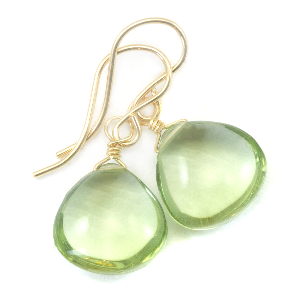 Green amethyst dangle necklace 14K gold filled  Green amethyst
