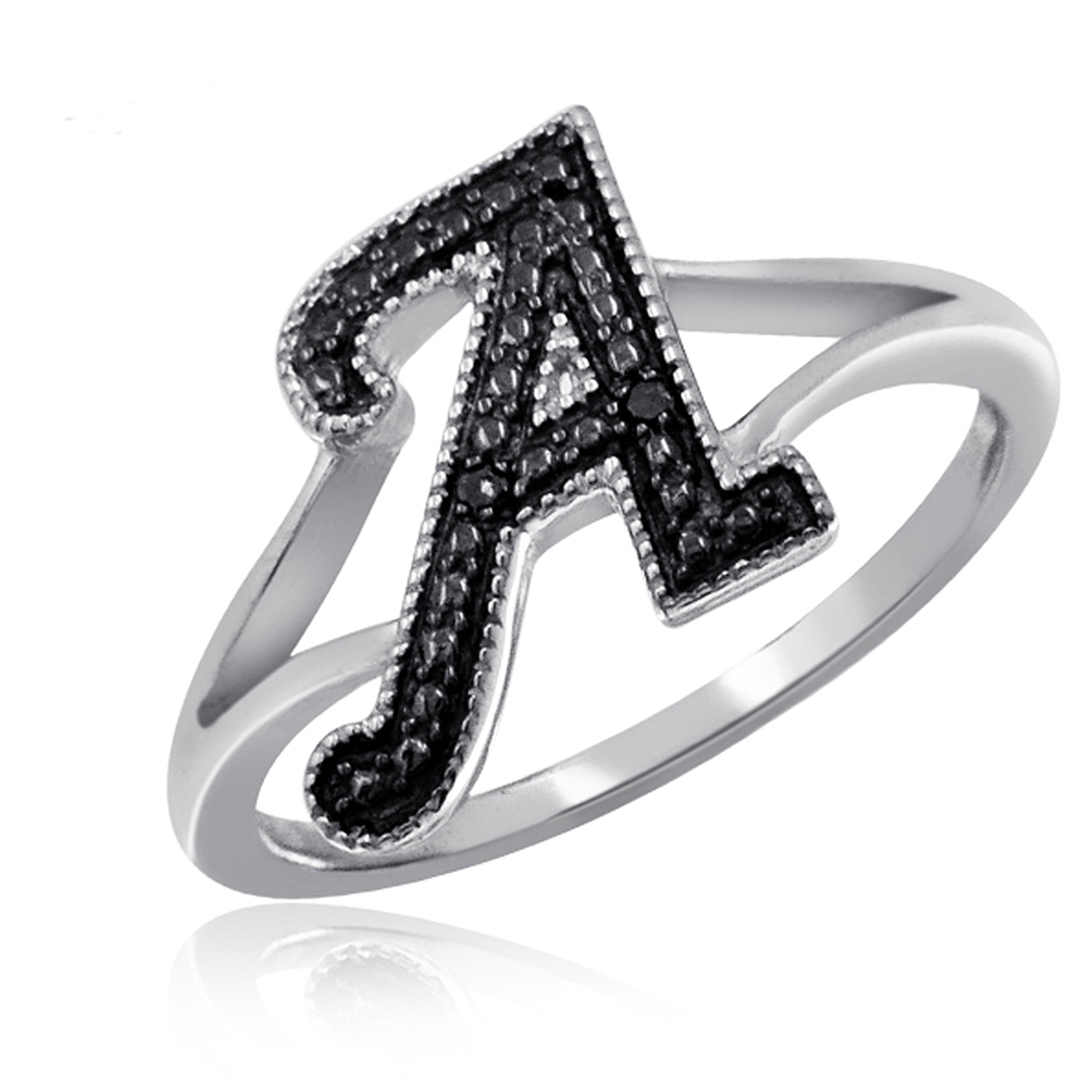 JewelersClub Black Diamond Sterling Silver Initial Spell It Out Ring