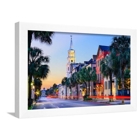 Charleston, South Carolina, USA Cityscape in the Historic French Quarter at Twilight. Framed Print Wall Art By Sean (French Quarter Charleston)