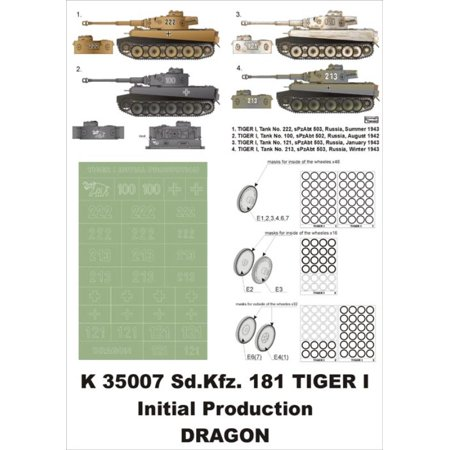 Montex Super Mask 1:35 SD.Kfz.181 Tiger I for Tamiya Spraying Stencil #2 #K35007