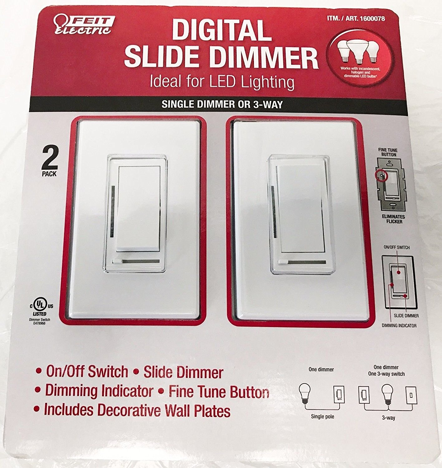 Feit Electric Digital Slide Dimmer Ideal for LED Lighting 2 Pack - NEW, Open Box