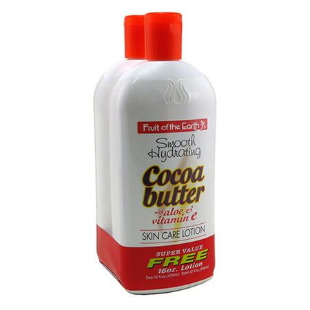 Fruit Of The Earth Bogo Lotion Cocoa Butter With Aloe and Vitamin-E, 16 Oz (Aloe B)