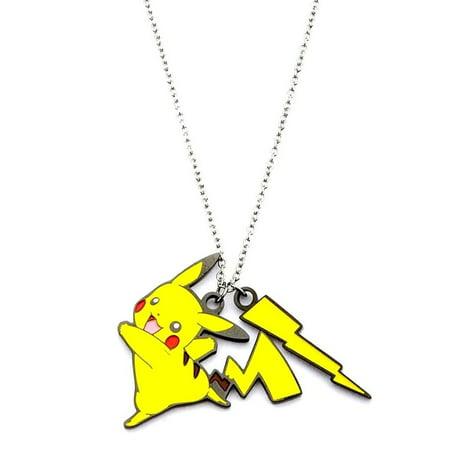 Pokémon Pickachu Lightning Bolt Women's Stainless Steel and Enamel Pendant, 18