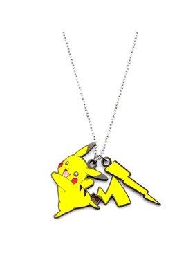 "Pokémon Pickachu Lightning Bolt Women's Stainless Steel and Enamel Pendant, 18"" with 2"" Extender"