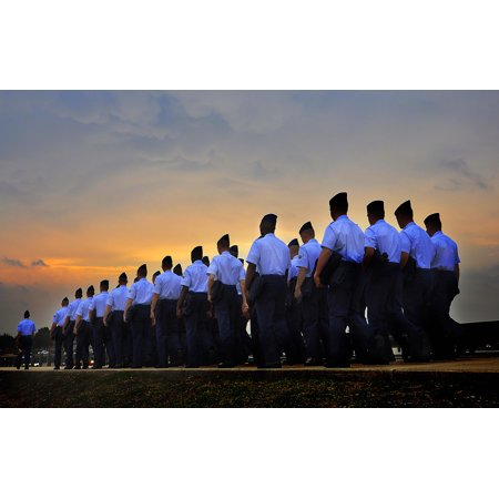 LAMINATED POSTER Basic trainees march to the parade grounds for their graduation ceremony on Lackland Air Force Base, Poster Print 24 x