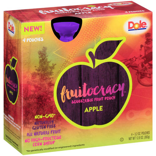 Dole Squish'ems! Apple Squeezable Fruit Pouches, 3.2 oz, 4 ct