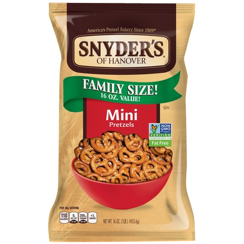 Snyder's of Hanover Mini Fat Free Pretzels, 16 oz