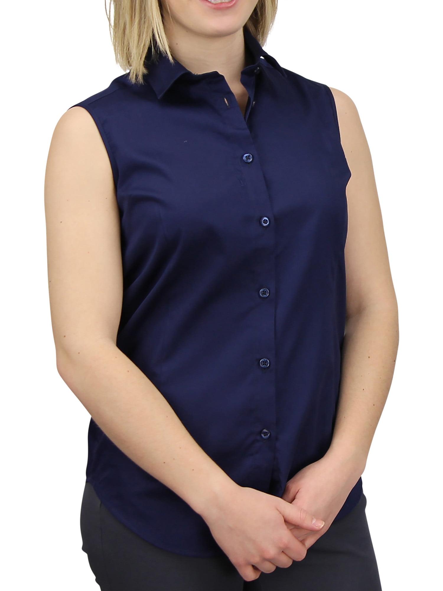 Urban Boundaries Womens Sleeveless Collared Shirt 100 Cotton