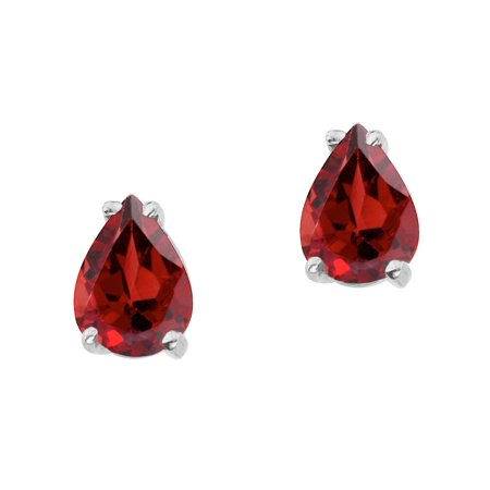 14k White Gold Pear Shaped Garnet -