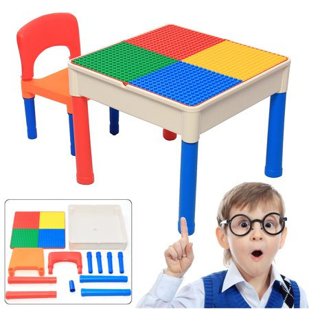 2 in 1 Building Blocks Table Play & Build Table Set for Indoor Activity, Outdoor Water Play, Toy Storage & Building Block Fun Table & Chairs Set](Halloween Block Center Activities)