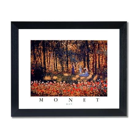 Monet Day Woman Umbrella Flower Garden Wall Picture Black Framed Art Print ()