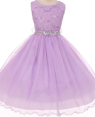 Big Girls' Lace Sequin Top Rhinestone Belt Flowers Girls Dresses Blush 10 (J36K70)